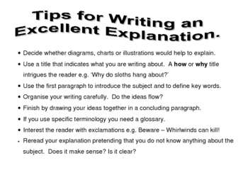 Writing an Explanation - Tips Poster