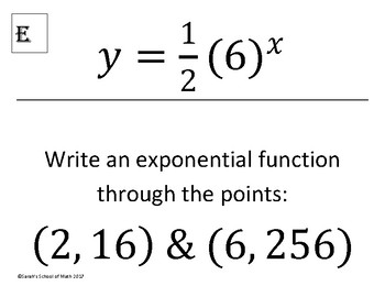 find exponential function from two points worksheet