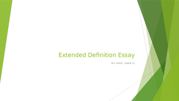 Writing an Extended Definition Essay