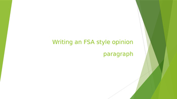 Writing an FSA-style opinion paragraph