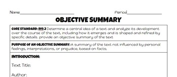 Writing an Objective Summary