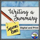 Writing an Objective Summary w/ Summarizing Analysis Assignments & Rubrics