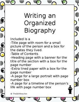 Writing an Organized Biography