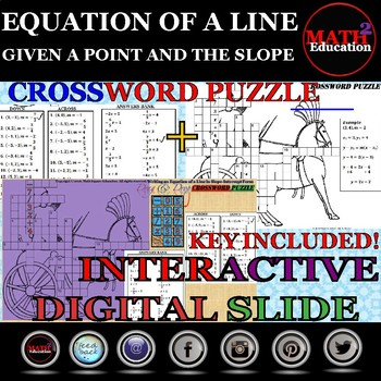 Writing linear equations in slope-intercept form from a point & slope crossword