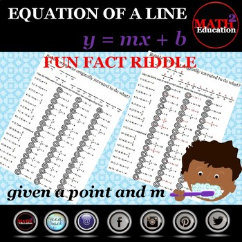 Writing linear equations in slope-intercept form from a point & slope riddle