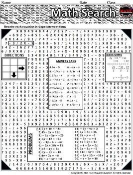 Writing linear equations in slope-intercept form wordsearch & notes