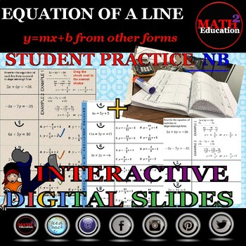 Writing linear equations in slope-intercept form practice & Google Slides