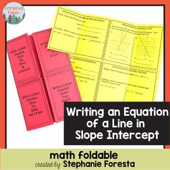 Writing an equation of a Line in Slope-Intercept Form Foldable