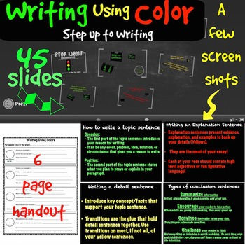 Writing an essay using colors prezi + handout (Step up to