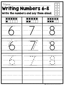 Writing and Counting Numbers 6 - 10 (Math Practice Sheets)