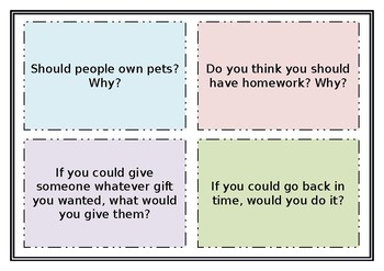 Writing and Discussion Prompt Cards