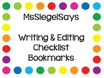 Writing and Editing Checklist Bookmark