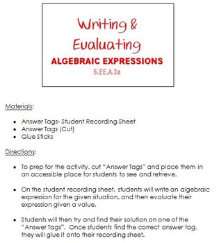 Writing and Evaluating Algebraic Expressions- Answer Tags
