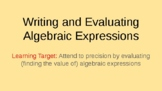 Writing and Evaluating Algebraic Expressions Power Point 6