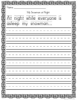 Writing Prompts and Fun Craftivity for Snowmen at Night for K and 1