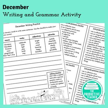 Writing and Grammar Worksheet: December