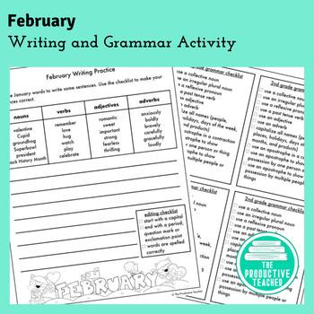 Writing and Grammar Worksheet: February