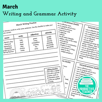 Writing and Grammar Worksheet: March
