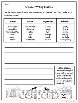 Writing and Grammar Worksheet: October