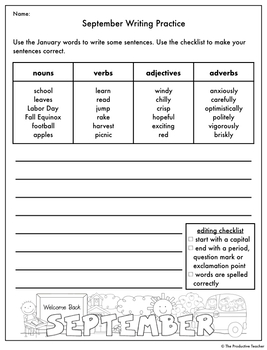 Writing and Grammar Worksheet: September Freebie
