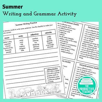 Writing and Grammar Worksheet: Summer