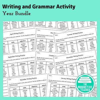 Writing and Grammar Worksheet: Year Bundle