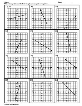 Writing and Graphing Equations Worksheet