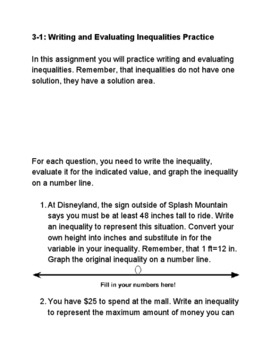 Writing and Graphing Inequalities Practice