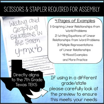 Writing & Graphing Linear Equations in the Form y=mx+b Flip Book / Foldable