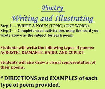 Writing and Illustrating Poetry -  ACROSTIC, DIAMANTE, HAIKU, and COUPLET