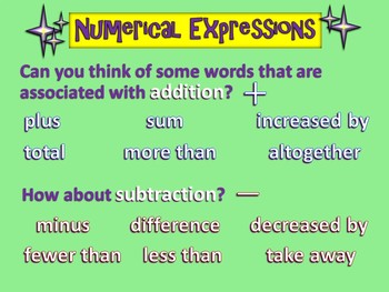 Numerical Expressions - (PowerPoint Only)