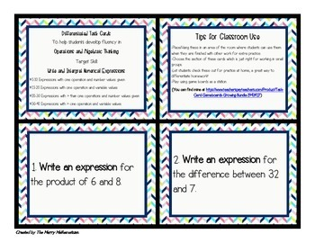 Writing and Interpreting Numerical Expressions-Differentiated Task Cards