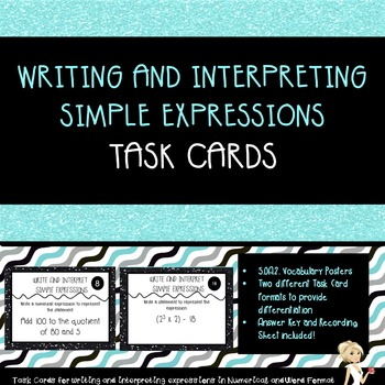 Writing and Interpreting Simple Expression Task Cards: 5.OA.2