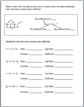 Writing and Labeling Algebraic Expressions (Guided Notes and Assessment)