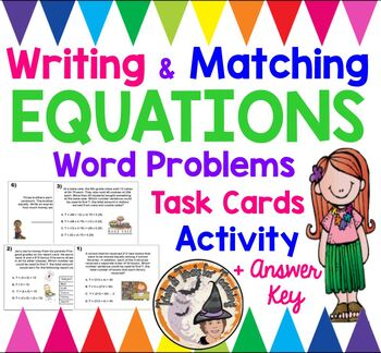 Writing and Matching Equations Word Problems Math Stations Group Activity