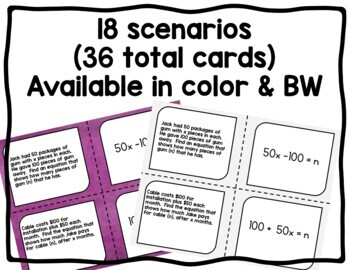 Writing and Matching Expressions & Equations Word Problems