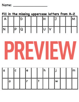 Writing and Ordering Uppercase and Lowercase Letters Aa-Zz