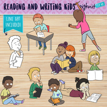 Writing and Reading Clipart | 8 Kids Writing and Reading in Different Poses