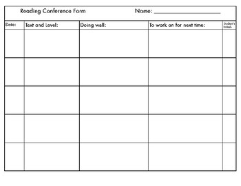 Writing and Reading Conference Teacher Forms