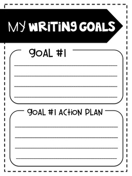 Writing and Reading Goals Template