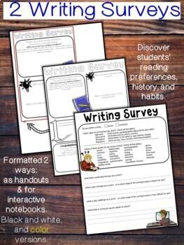 Writing and Reading Surveys Back-to-School Bundle