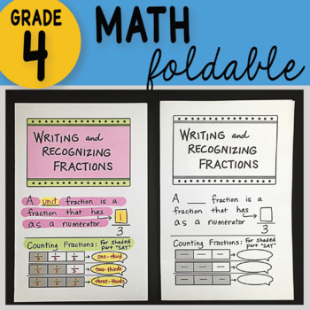 Doodle Notes - Writing and Recognizing Fractions Math Foldable