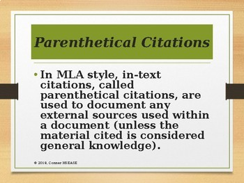 Writing and Research - MLA Style Review PPT