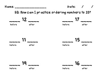 Writing and Sequencing (ordering) Numbers to 20