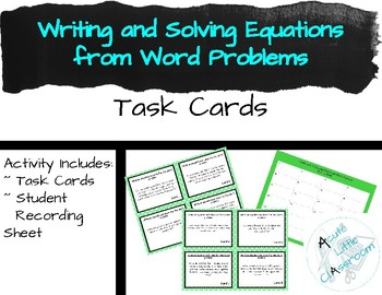 Writing and Solving  Equations from Word Problems
