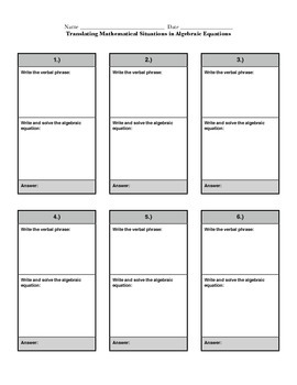 """Writing and Solving Algebraic Equations Problem Cards and """"Show your Work"""" Paper"""