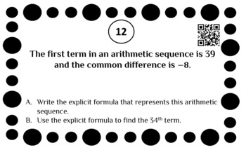 Writing and Solving Arithmetic Sequences Task cards Activity