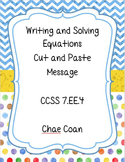 Writing and Solving Equations Cut and Paste