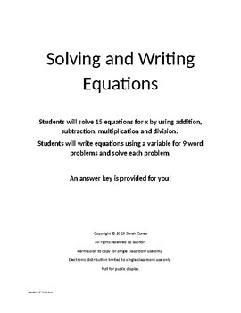 Writing and Solving Equations - Key Provided
