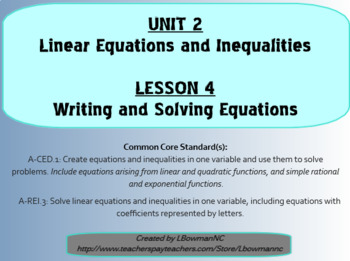 Writing and Solving Equations (Math 1)